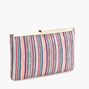 J.Crew Casual Woven Polyester Orange Violet Teal Clutch