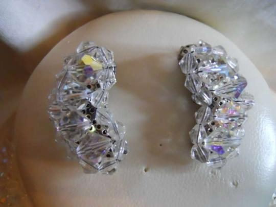 unknown vintage 3 strand AB crystal necklace & earrings
