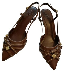 Tory Burch Brown leather with gold hardware Pumps
