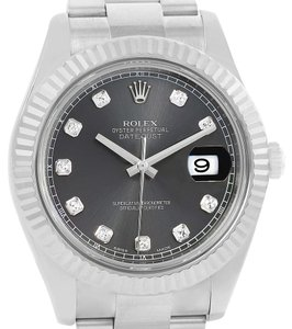 Rolex Rolex Datejust II Steel 18K White Gold Diamond Mens Watch 116334