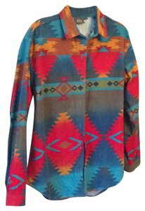 Woolrich Button Down Shirt turquoise, red, orange, blue