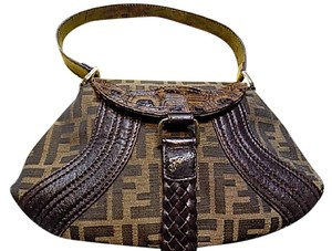 Fendi Jacquard Leather Woven Gold Satchel in Brown