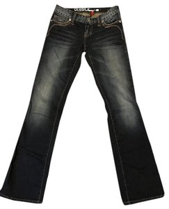 Guess Stretchy Patch Pocket Boot Cut Jeans-Dark Rinse