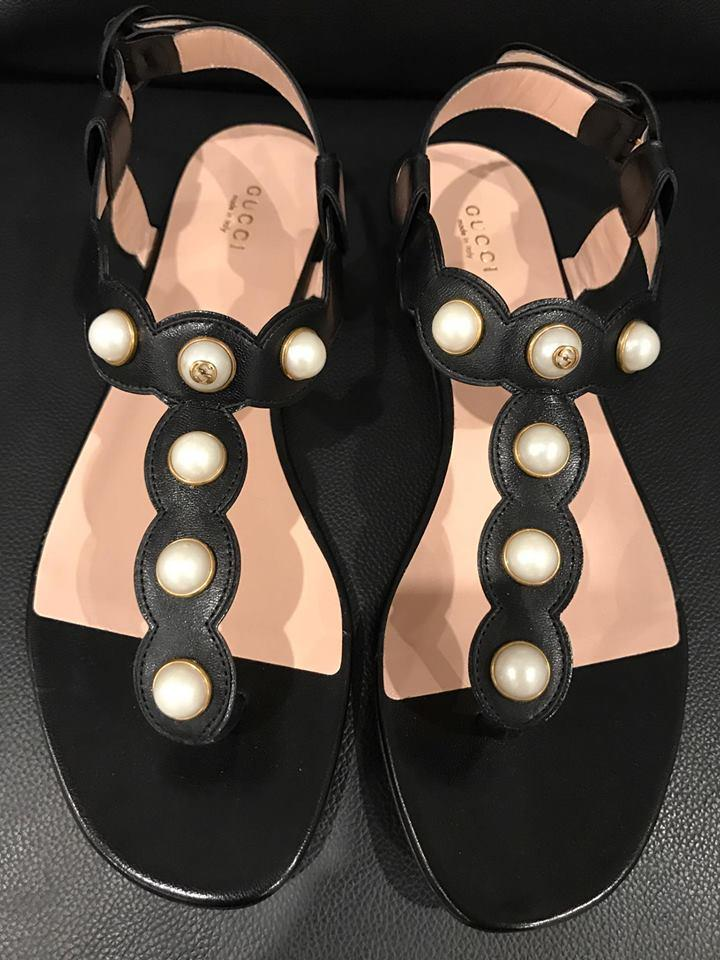 57f852049929 Gucci Black Willow Leather White Pearl Gold Gg Strap Thong Flat 41 ...