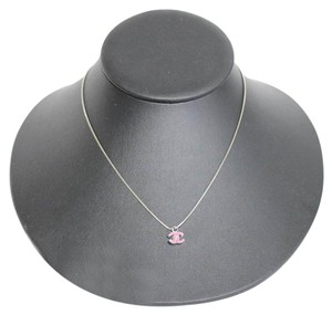 Chanel Chanel Sterling Silver Chain Necklace Pink Enamel CC Pendant