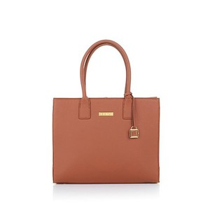 Joy & IMAN & Leather Designer Large Tote in Rich Cognac