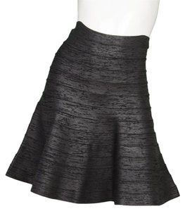 Herv Leger Bandage Iridescent Fit Flare Mini Skirt Black