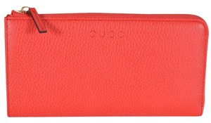 Gucci Gucci Women's 332747 Sporting Red Textured Leather Zip Around Wallet