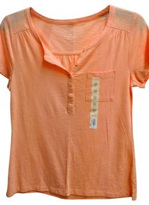 Sonoma Basic Tee Peach Cotton Tee Sleeve T Shirt Melon Glow