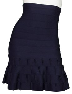Hervé Leger Trumpet Bandage Mini Skirt Navy