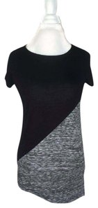 INC International Concepts Scoop Cap Sleeve Black Top Black/Grey