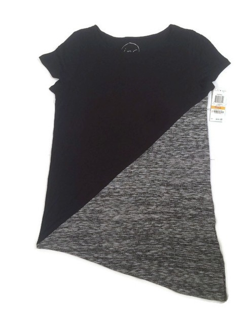 INC International Concepts Scoop Cap Sleeve Top Black/Grey Image 6