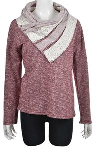 For Cynthia Womens Burgundy Cotton Mock Neck Sweater