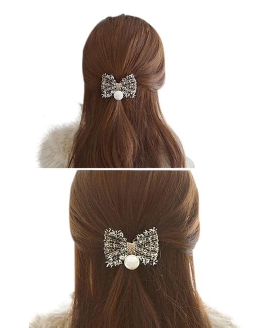 Item - Black and Gold and Grey Bow Pearl Bands Hair Accessory