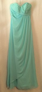 Mori Lee Mint/Teal 642- Draped Chiffon Dress
