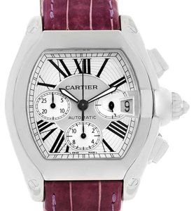 Cartier Cartier Roadster Chronograph Silver Dial Violet Strap Watch W62019X6