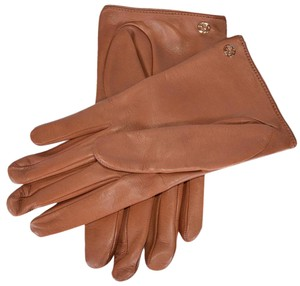 Gucci Gucci Women's Brown Nappa Leather Interlocking GG Gloves Size 7.5 Med