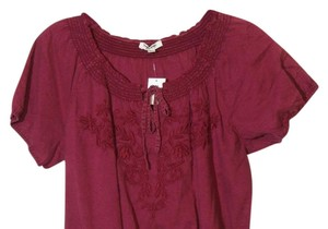 Tantrums 1x 1xl Plus Peasant Top Cranberry