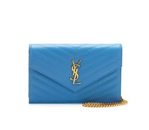 Saint Laurent Woc Small Blue Wallet On Chain Cross Body Bag