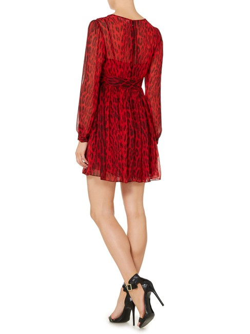 MICHAEL Michael Kors short dress Red/Black Print V-neck Longsleeve on Tradesy Image 1