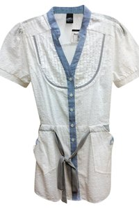 Charlotte Russe Cotton Nautical Vintage Button Down Shirt White