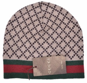 Gucci Gucci Men's 295287 Brown Diamante Red Green Stripe Wool Beanie Hat L