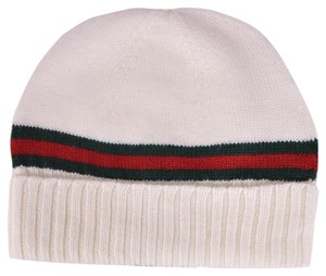 Gucci Gucci Men's 294731 White 100% Wool Red Green Stripe Beanie Ski Hat L