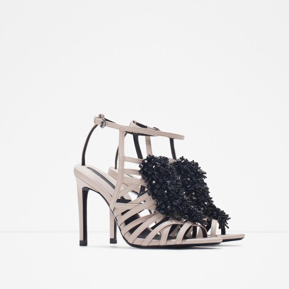 Black sandals holiday -  Zara Beaded Embellished Strappy Holiday Party Nude Black Sandals