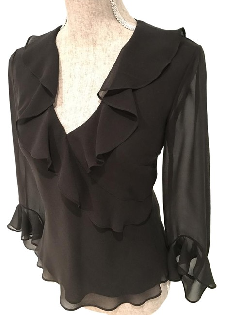 Preload https://img-static.tradesy.com/item/20502619/ralph-lauren-black-elegant-silk-ruffled-v-neck-small-blouse-size-6-s-0-2-650-650.jpg