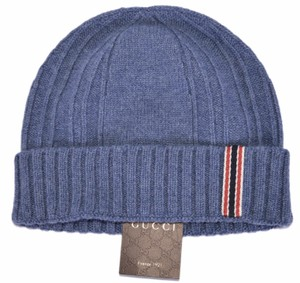 Gucci Gucci Men's 309854 Blue 100% Cashmere Blue Red Web Beanie Ski Hat L