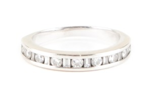 Zales White Gold And Bezel Diamond Ring