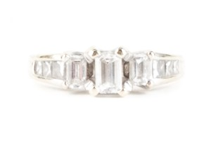Zales White Gold And Emerald Cut Diamond Ring