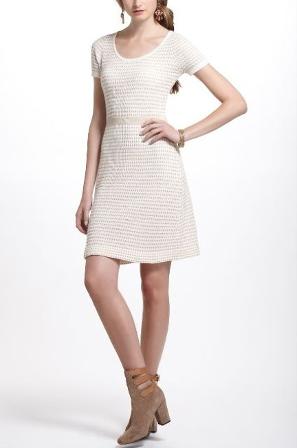 Anthropologie short dress White & Gold Sparrow Sweater And Knit Knit on Tradesy