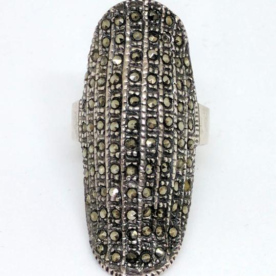 DeWitt's Sterling Silver Ring weighing 9.1 grams Size 8 1/2 88 black stones Image 1