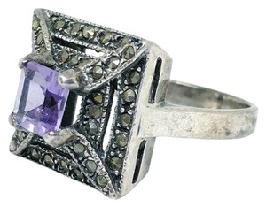 DeWitt's Sterling Silver Ring 5 grams Size 6 3/4 1 Purple Stone 43 Marcisite