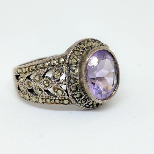 DeWitt's Sterling Silver Ring 6.7 grams Size 7 3/4 1 Purple Stone Image 1