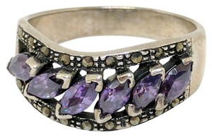 DeWitt's Sterling Silver Ring 5.5 grams Size 9 3/4 6 Purple Stones