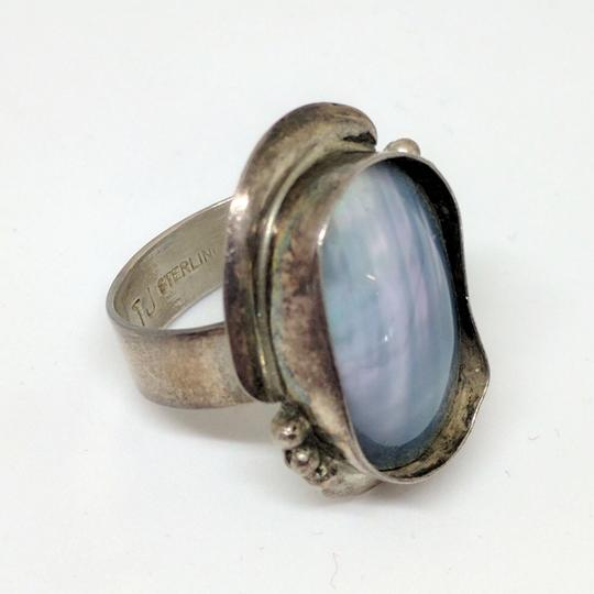 DeWitt's Sterling Silver Ring 8.6 grams Size 8 3/4 1 Mother of Pearl Stone Image 1