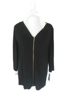 INC International Concepts Xxl Zip Longsleeve Top Black