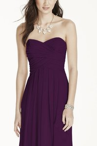 David's Bridal Plum Strapless Crinkle Chiffon With Cascade Skirt Dress
