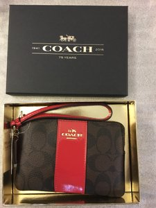 Coach Leather Wallet Phone Case Signature Wristlet in Brown True Red