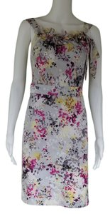 Ann Taylor LOFT short dress Gray Abstract Floral Sheath Sleeveless on Tradesy