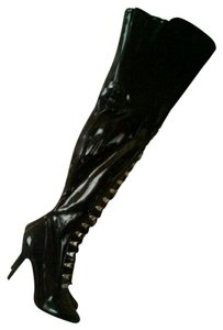 Thigh High Lace Up Stiletto Black Boots