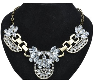 Vflourish Chunky Vintage Gold Bubble Bib Statement Crystal Cluster Necklace