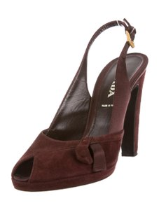 Prada Suede Open Toe Platform 7.5 Plum Pumps