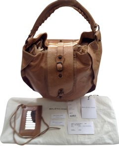 Balenciaga Tan Camel Chevre Hobo Bag