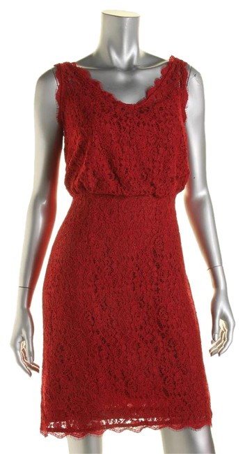 Preload https://img-static.tradesy.com/item/20503390/adrianna-papell-pink-womens-red-lace-double-short-cocktail-dress-size-petite-8-m-0-1-650-650.jpg