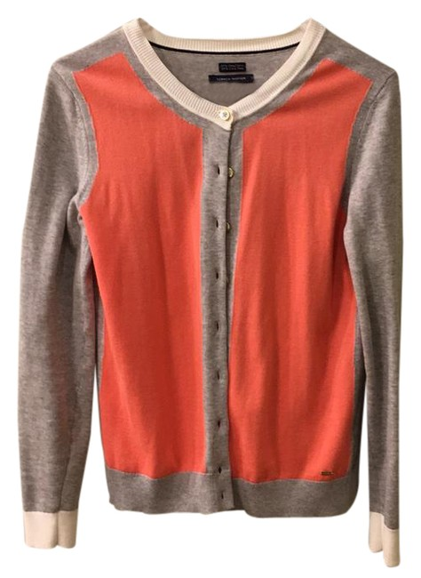Item - Coral Gray White Color Block Cardigan Size 6 (S)
