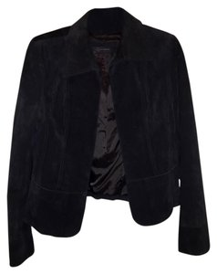 Context Suede Crop black Leather Jacket