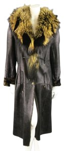 Roberto Cavalli Fur Patchwork Leather Shearling Racoon Coat